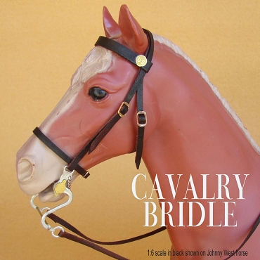 Cavalry Bridle Shown in Brown on 1:6 Scale (Johnny West) horse