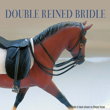 1:9 scale Double-Reined Bridle in black on Breyer horse