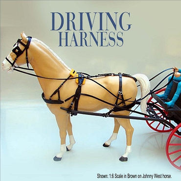 Black Driving Harness shown on JW 1:6 scale horse