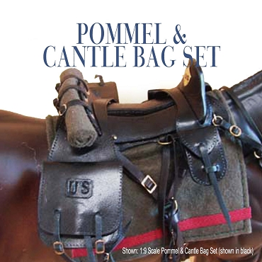 Pommel & Cantle Bag Set Shown in black, on large 1:6 scale horse.