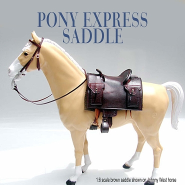 Pony Express Saddle Package - Antique Brown - Padlocks - shown on 1:9 scale Breyer