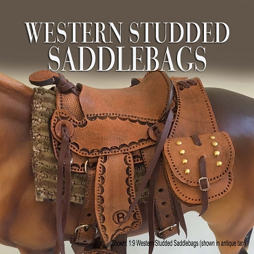 Antique Tan Studded Western Saddle Bags